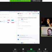 links Asana Übungsprojekt im geteilten Bildschirm; rechts Teilnehmerinnen