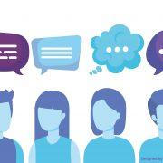 Cartoon vier Personen mit verschiedenen Sprechblasen