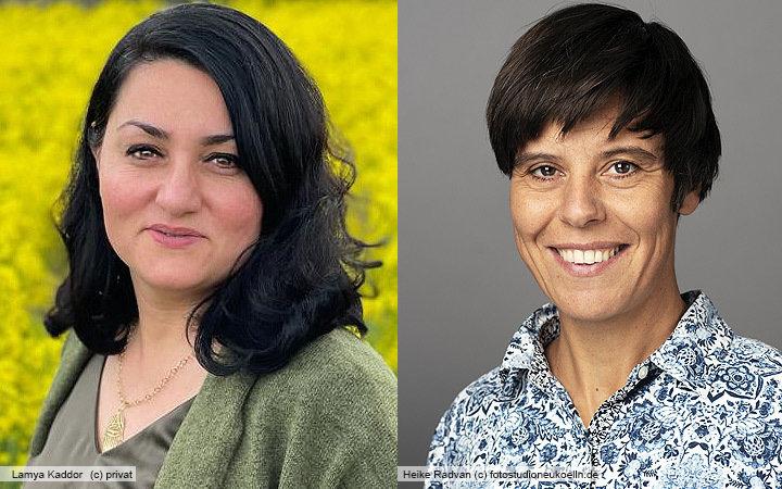 Portrait der beiden Rednerinnen Lamya Kaddor und Heike Radvan